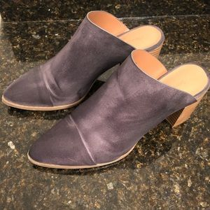 American Eagle brand grey faux suede mules